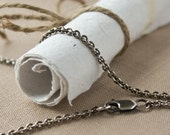 """Custom Order -- 2.8mm Antiqued Argentium Silver Cable Chain adjustable between 26"""" and 20"""""""