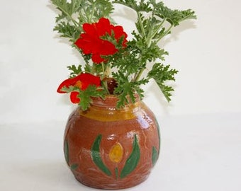 Earthenware Vase or Jar Decorated with Carving and Underglaze ColorStoneware with Floral Motif