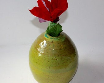 Chartreuse Bud Vase in Stoneware  Vessel for Flower Arranging Container