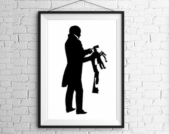 Large Original Papercutter Silhouette Papercut Black and White Victorian