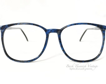 French 80's Logo Paris Blue Black Marble Oversized NOS Made in France Eyewear Eyeglass Frames