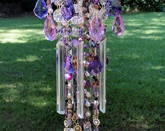 Twilight Dusk Antique Crystal Wind Chime, Purple Crystal Wind Chime, Vintage Crystal Wind Chime, Sun Catcher, Garden Decoration