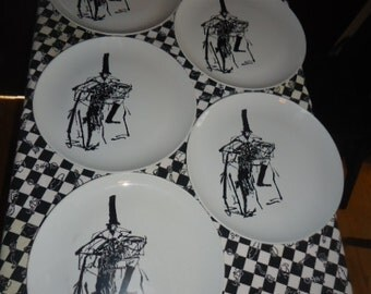 "5 Pre owned Vintage Mid Century  ""Pyroceram"" Tableware Corning Plates Retro Kitchenalia"