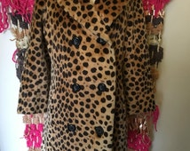 Luella vintage 50s faux fur leopard coat jacket