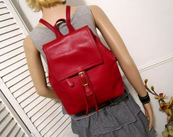 COACH Leather Backpack in Red Color All Leather  Backpack Red