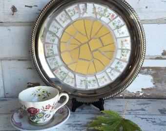 Vintage Broken China Mosaic Tray - Golden Floral
