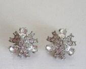 Valentines Day Sale Vintage Hollycraft earrings rhinestone earrings signed atomic star-burst earrings bridal wedding jewelry