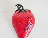 Valentines Day Sale Vintage red enamel strawberry pin or brooch