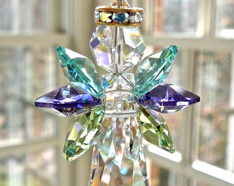 """Guardian Angel Sun Catcher in Aurora Borealis and Peacock Colored Wings, All Swarovski, Memorial Gift, Window Prism, Light Catcher - """"JOY"""""""