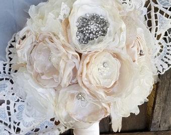 Bridal Bouquet, Wedding  Bouquet,  Brooch  Bouquet, Fabric Bouquet, bridal flowers, rhinestone bouquet, wedding flowers, champagne bouquet