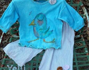 SALE Bohemian Bluebird Two Piece Girls Set Ready to Ship