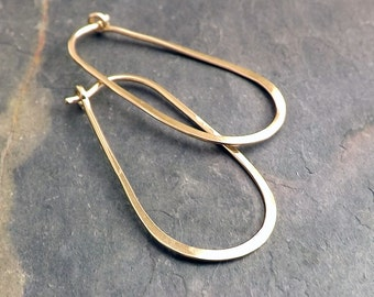 Oval Hoops Gold Hoop Earring, Modern Looped Hoops Gold Filled eco friendly jewelry womens gift, minimal hoop earrings