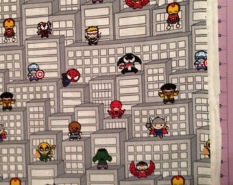 Marvel Comic SuperHeroes And Villians Kawaii Fabric By The Yard