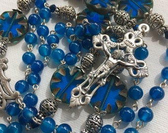 Handmade Catholic Rosary with Bright Blue Agate and Czech Picasso Glass Beads, Custom Rosaries, One of a kind Jewelry, Rosary for him