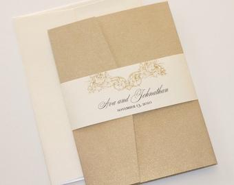 Vintage Wedding Invitation | Elegant Wedding Invitation | Rustic Wedding Invitation | Lace Invitation Ivory Gold Wedding Invite - Ava Sample
