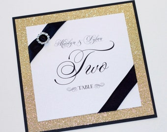 Marilyn Glitter Table Numbers - Couture Table Numbers - Crystal Buckle Table Cards - Wedding Reception Stationery - Gold White Black  Sample