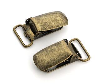 "50pcs - 5/8"" Suspender Clip - Antique Brass - Free Shipping (SUSPENDER CLIP SPN-106)"