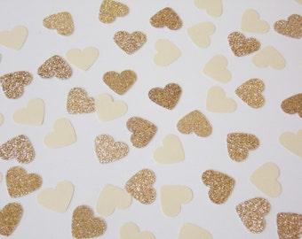 Champagne Heart Confetti, Wedding Reception Decoration, Table Scatter, Glitter Confetti, Bridal Shower Decor