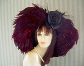 Burgundy Kentucky Derby Hat 1800s Flapper Style Hat Wedding Hat Gatsby Hat Feather Hat by mspurdy