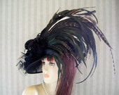 "Black Kentucky Derby Hat, Preakness, ""Feather Galore"" Belmont, Victorian, Ascot Races Hat By Ms.Purdy"