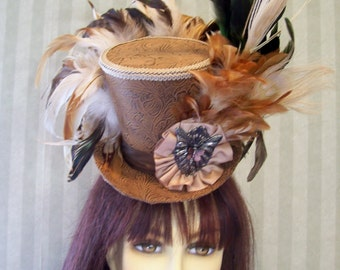 Steampunk Mini Top Hat, Alice in Wonderland Hat Brown Faux Leather, Tea Party Hat, Halloween Mini Top Hat by Ms Purdy