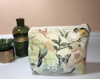Large Zipper Pouch, Handmade Zipper Pouch, Birds and Butterfly Zipper Pouch, Cosmetic Bag, Travel Pouch, Makeup Bag, Gift Idea, Project