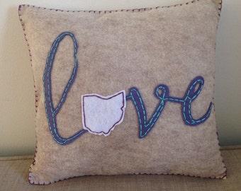 Love Ohio Script Felt Accent Pillow