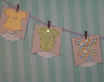 Gender Neutral Baby Onesie Shower Banner Photo Prop Room Decor Multi Colored Pattern Paper Unisex Custom