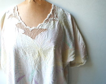 boho vintage 80s white rayon, slouchy  top with multicolor pastel, butterfly embroidery and net lace. Made by Bali Emerald. One size .