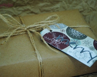 Holiday Set of 8 Merry Gift Tags, double sided, tied with jute twine, mad4plaid, perfect for gift bags or bottles.