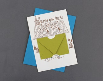 Happy New House - Letterpress Gift Card Holder
