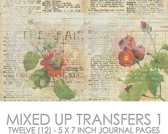 Mixed Up Transfers 1 Digital Junk Journal Printable Pages Paper Pack
