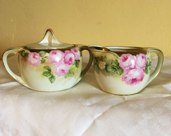 RS Germany Reinhold Schlegelmilch Hand Painted Sugar Bowl and Creamer Pink Roses Not Perfect One Small Chip In Sugar Bowl See Third Photo