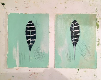 Indigo Feathers with mint green, original mixed media paintings on paper