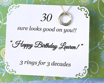 30th BIRTHDAY Gift THIRTIETH Birthday 30th Necklace With POEM Sterling Silver 3 Rings for 3 Decades Happy Birthday Sister Friend Connected