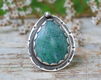 Sterling Silver Chrysocolla Ring. Bohemian Stamped Ring. Green Teardrop Stone Ring. Handmade Jewelry. Size 7.75
