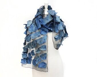 Felted scarf, silk scarf, hand painted,  silk felt scarf, womens scarf, gift scarf,  art to wear scarf, unique wrap,  kate ramsey, stylish