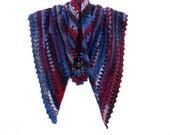 Crochet Triangle Scarf - Boho Shawl - Tribal Shoulder Warmer - Southwest Shawlette - Color Navajo Blue - Alpaca Wrap