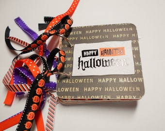 Halloween Scrapbook Album, Halloween Mini Album, Premade Album, Halloween Brag Book, Halloween Photo Album, Chipboard Album, 4x4 Album Album
