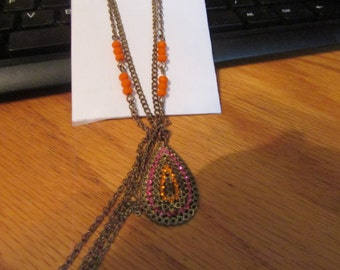 3 strand orange tear drop necklace
