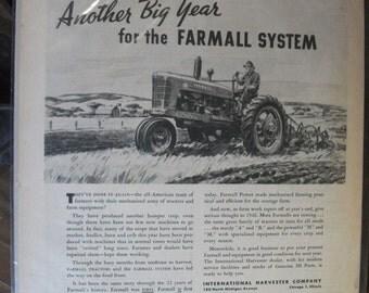 FARM 117    Farmall Tractor Ad   -  October, 1945