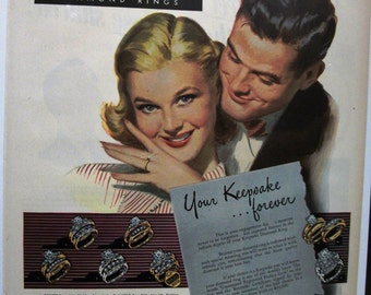 "Jewelry 117    ""Keepsake Diamond Rings""  Ad   -  October  1952"