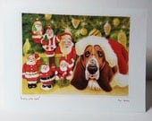 Santas and Bassets Christmas Holiday Dog Cards Ten cards Five Fun Designs Give One Keep One Great Gift Idea