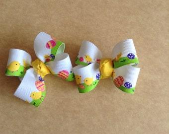Easter Chick Hair Bows, Girls Hair Bows, Toddlers Hair Bows, Piggy Tail Hair Bows, Easter Chicks, Easter Eggs, Easter, Hair Bows