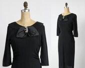 ON SALE 1950s Black Dress Faux Diamond & Satin Panel