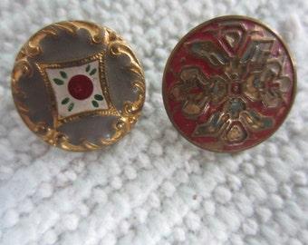 Vintage Buttons -  etched brass metal, enamel Victorian era button,  (july 319b)