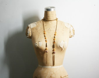 vintage 60s Stones & Glass Beads Butternut Squash Orange Beaded Long Layered Lariat Necklace with Tassels // Boho Chic