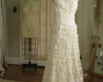 Textural Sculpted Lace Bohemian Bridal Gown