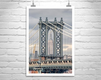 Manhattan Bridge, Industrial Art, Urban Art, NYC Photo, Vertical Art, New York, Architecture Art, Empire State Building, Art for Living Room