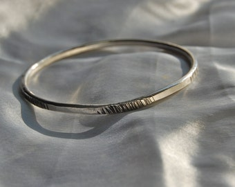 sterling bangle bracelet, hammered, organic